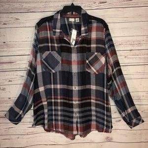 Westbound Women Plaid Button Up Shirt Size 2X